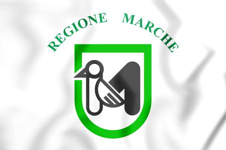 3D Flag of Marche Region, Italy. 3D Illustration.