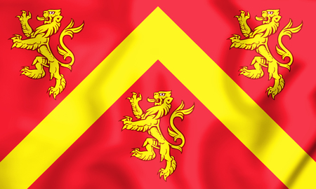 ynys: 3D Flag of Anglesey, Wales. 3D Illustration.
