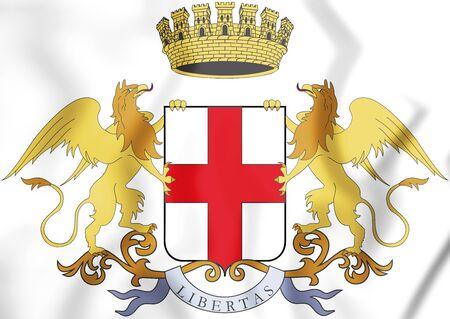Genoa Coat of Arms, Italy. 3D Illustration.