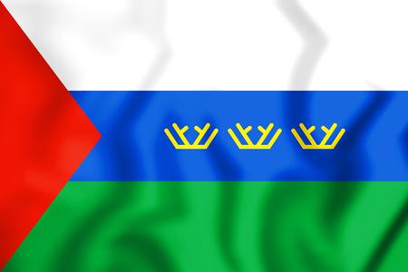 3D Flag of Tyumen Oblast, Russia. 3D Illustration.