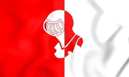 noord brabant: 3D Flag of Helmond (Noord Brabant), Netherlands. 3D Illustration.