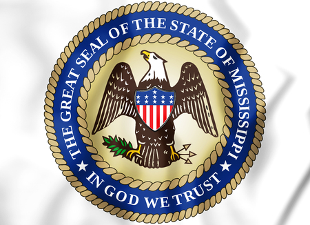 3D State Seal of the Mississippi, USA. 3D Illustration.