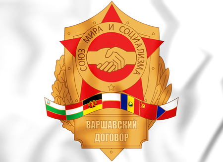 mutual assistance: Emblem of the Warsaw Pact. 3D Illustration. Stock Photo