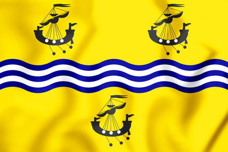 3D Flag of Comhairle nan Eilean Siar (Western Isles Council), Scotland. 3D Illustration. Stock Photo