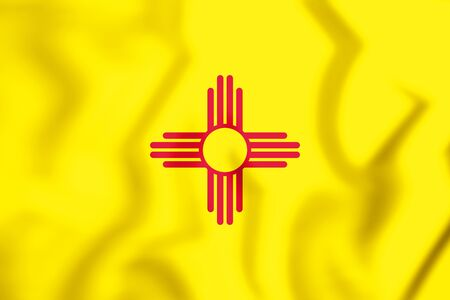 3D Flag of New Mexico, USA. 3D Illustration.