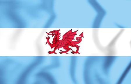 bandera chilena: 3D Bandera de Puerto Madryn y la colonia galesa en la Patagonia. Ilustración 3D.
