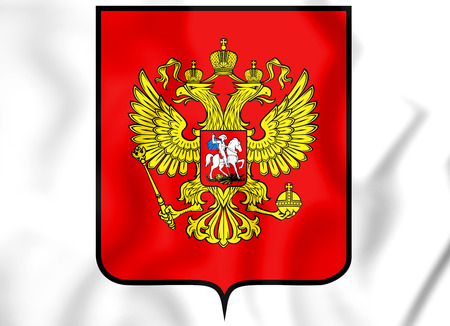 Russia coat of arms. 3D Illustration. Front view. Stock Photo