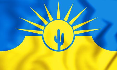 3D Flag of Mesa (Arizona), USA. 3D Illustration.