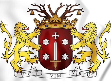 Haarlem Coat of Arms, Netherlands. 3D Illustration.