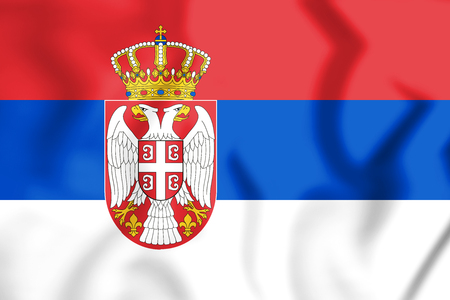 3D Flag of the Serbia. 3D Illustration. Stock Photo