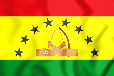 Bandera 3D del distrito de Guna Yala. Ilustración 3D.