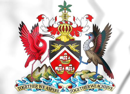 Trinidad and Tobago coat of arms. 3D Illustration.