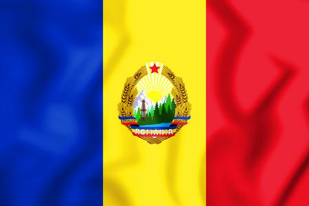 rumanian: 3D Flag of the Romania (1965-1989). 3D Illustration. Stock Photo
