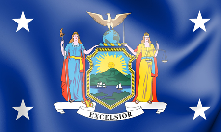 3D Standard of the Governor of New York State, USA. 3D Illustration.