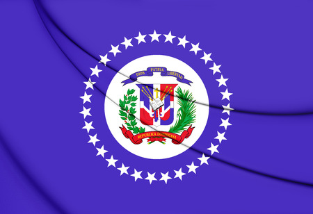 Naval Jack of the Dominican Republic. 3D Illustration.
