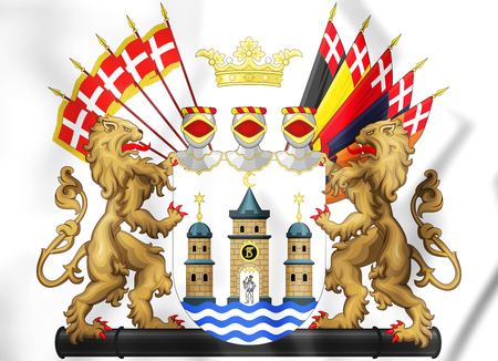3D Copenhagen coat of arms, Denmark. 3D Illustration.