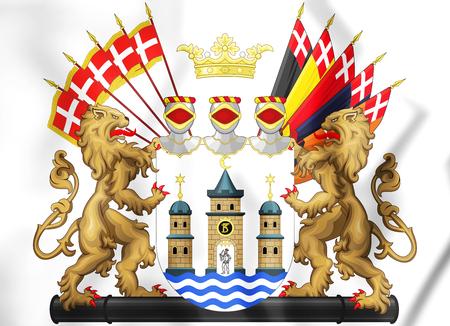 danish flag: 3D Copenhagen coat of arms, Denmark. 3D Illustration.