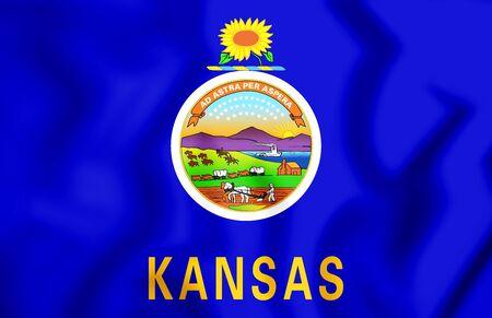 3D Flag of Kansas, USA. 3D Illustration.