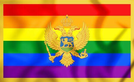 3D LGBT Flag of Montenegro. 3D Illustration. Stock Photo