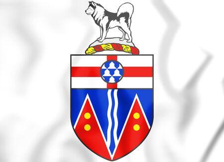 yukon territory: Yukon coat of arms, Canada. 3D Illustration. Stock Photo