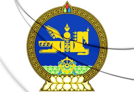 3D Mongolia Coat of Arms. 3D Illustration.