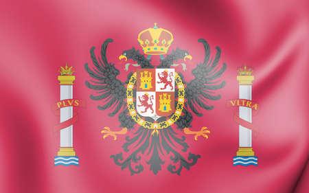 3D Flag of Toledo Province, Spain. 3D Illustration.