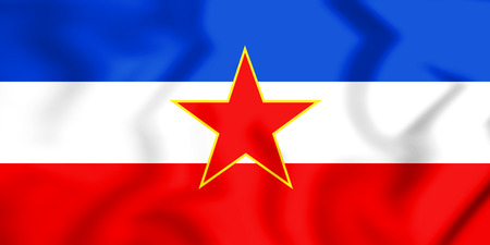 yugoslavia federal republic: 3D Flag of the Yugoslavia. 3D Illustration.