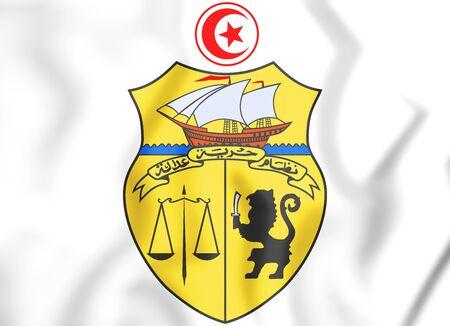 3D Tunisia coat of arms. 3D Illustration. Stock Photo