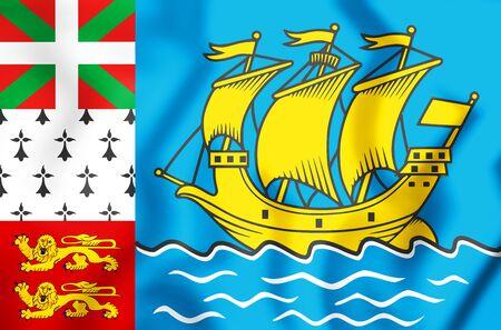 3D Flag of Saint Pierre and Miquelon, France. 3D Illustration.