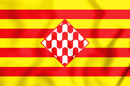 3D Flag of Girona Province, Spain. 3D Illustration.
