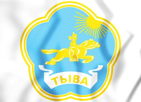 Tyva Republic Coat of Arms, Russia. 3D Illustration.
