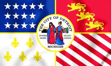detroit: 3D Flag of Detroit (Michigan), USA. 3D Illustration.