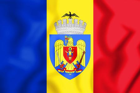 rumanian: 3D Flag of Bucharest, Romania. 3D Illustration.