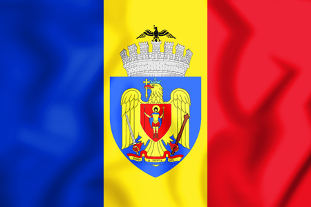 3D Flag of Bucharest, Romania. 3D Illustration.