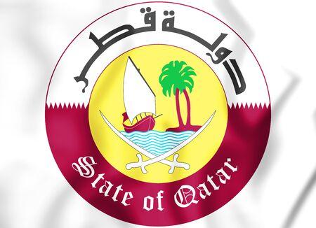 3D Qatar Coat of arms. 3D Illustration.
