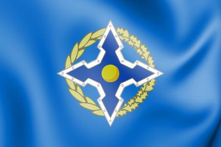 treaty: 3D Flag of Collective Security Treaty Organization. 3D Illustration.