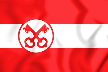 3D Flag of Leiden (South Holland), Netherlands. 3D Illustration. Stock Photo