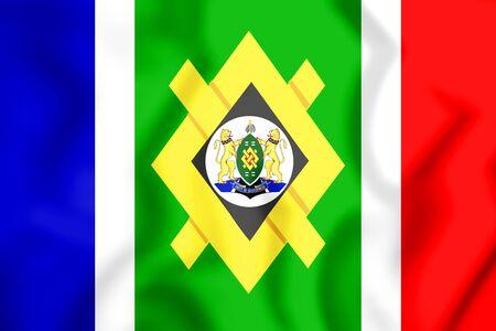 3D Flag of Johannesburg, South Africa. 3D Illustration.