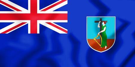 3D Flag of the Montserrat. 3D Illustration. Stock Photo