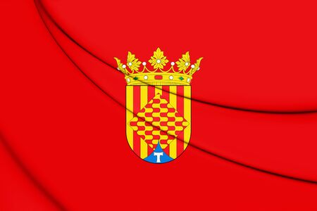 3D Flag of Tarragona Province, Spain. 3D Illustration.