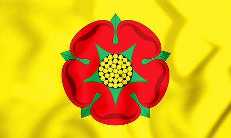 3D Flag of Lancashire County, England. 3D Illustration. Stock Photo