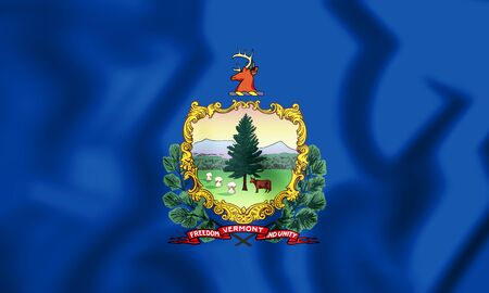 3D Flag of Vermont state, USA. 3D Illustration. Stock Photo