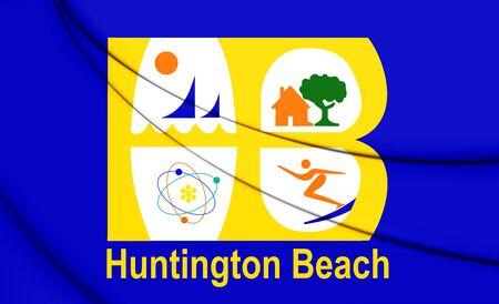 orange county: 3D Flag of Huntington Beach (California), USA. 3D Illustration.
