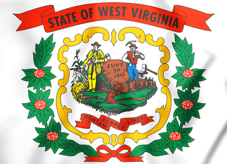 West Virginia coat of arms, USA. 3D Illustration.