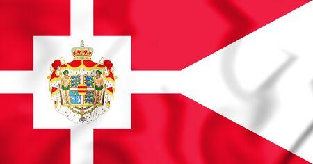 3D Royal Standard of Denmark. 3D Illustration.