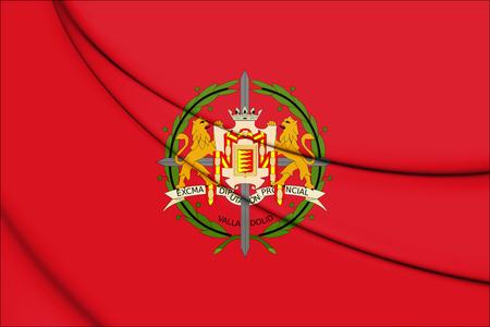 leon caricatura: 3D Flag of Valladolid Province, Spain. 3D Illustration.