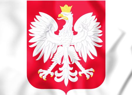 3D Poland coat of arms. 3D Illustration.