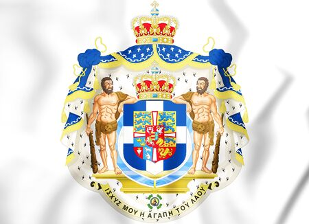 Greek Royal Coat of Arms. 3D Illustration.    Stock Photo