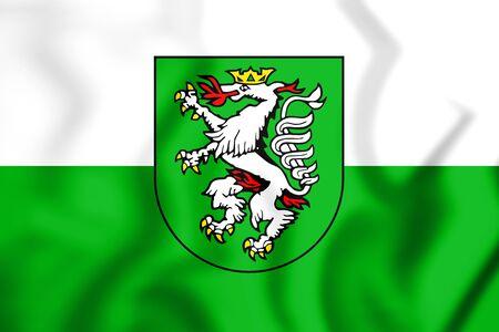 steiermark: 3D Flag of Graz (Styria), Austria. 3D Illustration.    Stock Photo