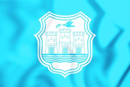 3D Flag of Novi Sad, Serbia. 3D Illustration.